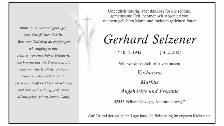 Gerhard Selzener † 4. 2. 2021