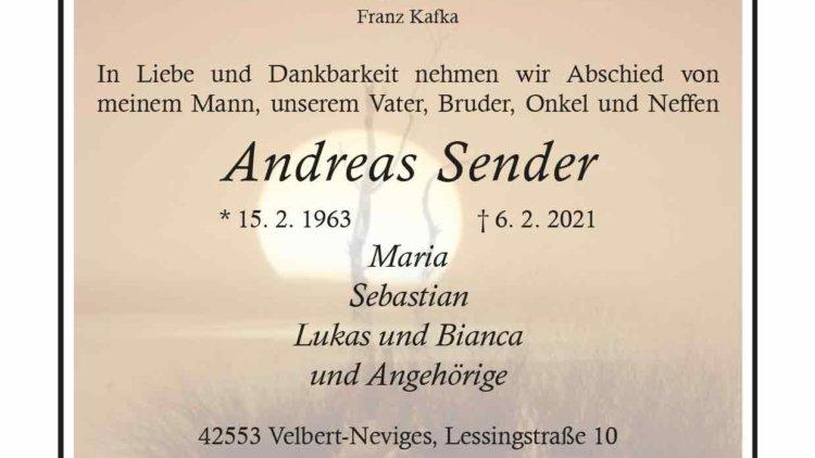 Andreas Sender † 6. 2. 2021
