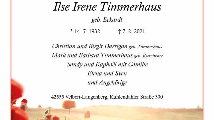 Ilse Irene Timmerhaus † 7. 2. 2021
