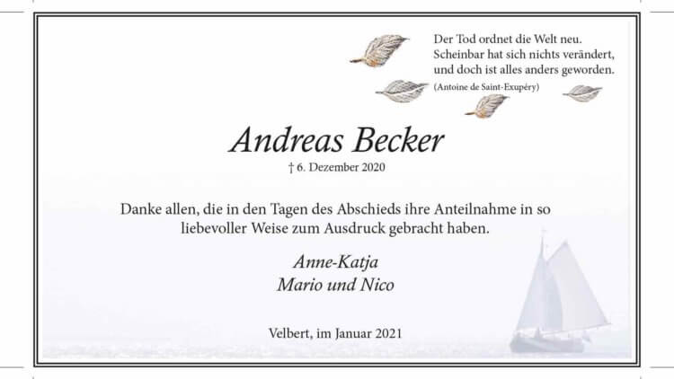 Andreas Becker -Danksagung-