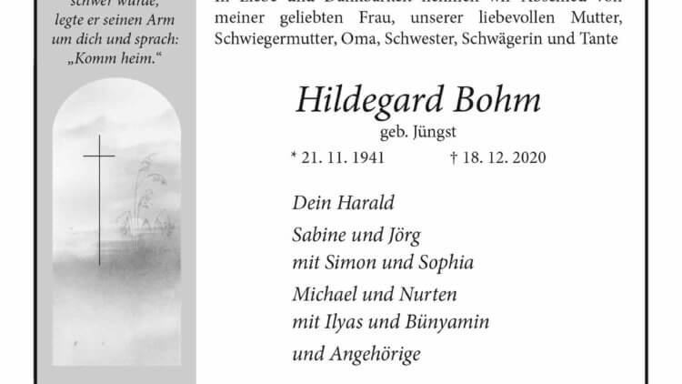 Hildegard Bohm † 18. 12. 2020