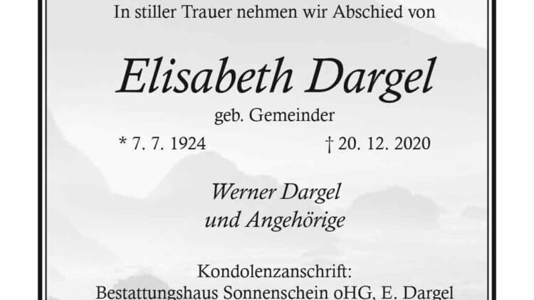 Elisabeth Dargel † 20. 12. 2020