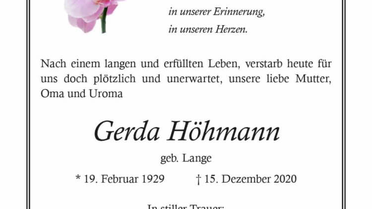 Gerda Hörmann † 15. 12. 2020