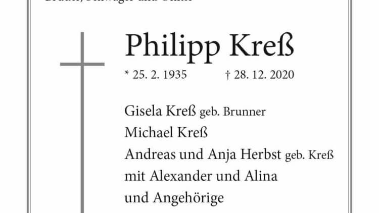Philipp Kreß † 28. 12. 2020
