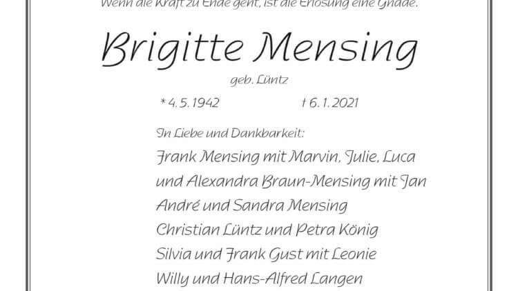 Brigitte Mensing † 6. 1. 2021