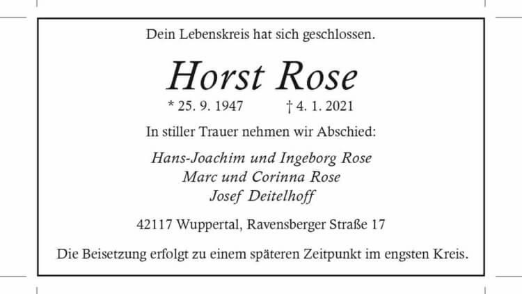 Horst Rose †4. 1. 2021