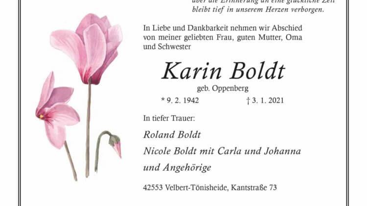 Karin Boldt † 3. 1. 2021