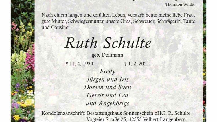 Ruth Schulte † 1. 2. 2021