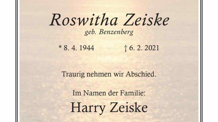Roswitha Zeiske † 6. 2. 2021