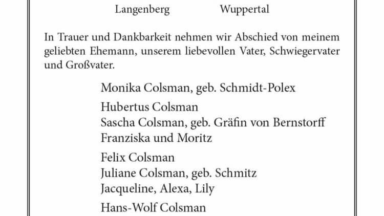 Erwin Colsman † 14. 1. 2021