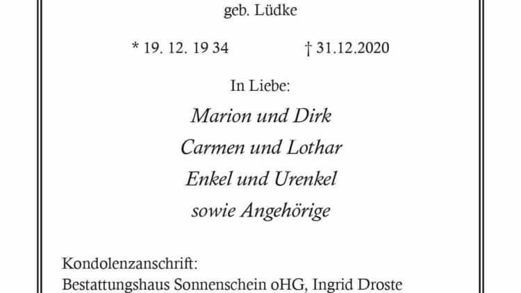 Ingrid Elisabeth Droste † 31. 12. 2020