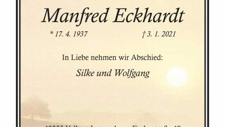 Manfred Eckhardt † 3. 1. 2021