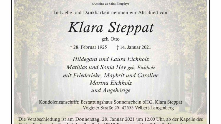 Klara Steppat † 14. 1. 2021