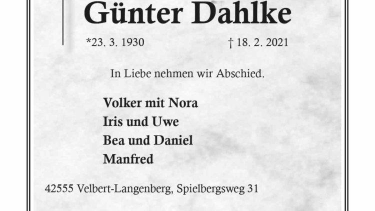 Günter Dahlke † 18. 2. 2021