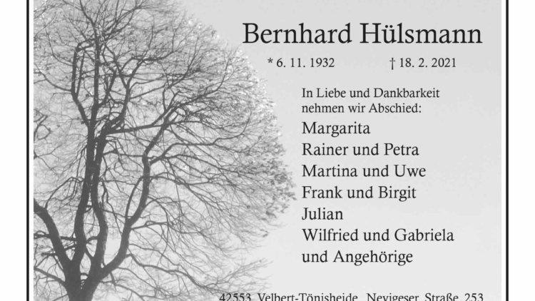 Bernhard Hülsmann † 18. 2. 2021