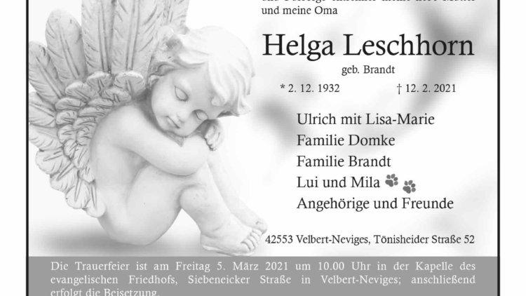 Helga Leschhorn † 12. 2. 2021