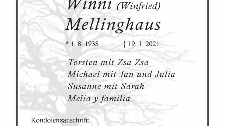 Winni Mellinghaus † 19. 1. 2021