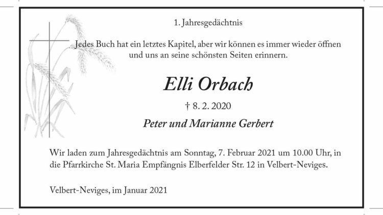 Elli Orbach -1. Jahresgedächtnis-