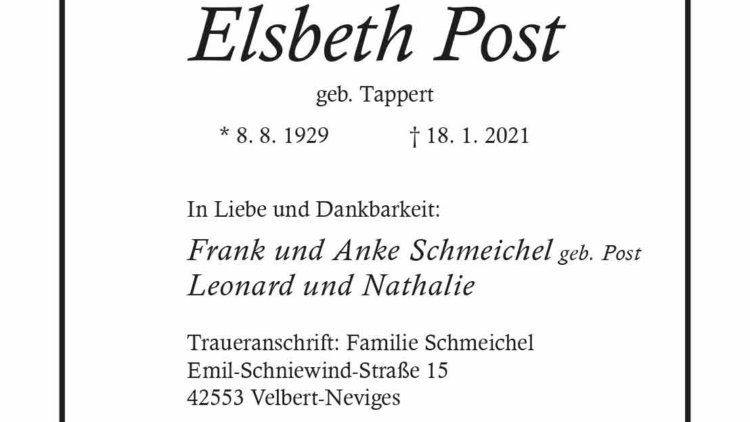 Elsbeth Post † 18. 1. 2021