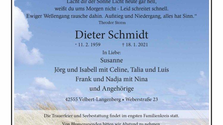 Dieter Schmidt † 18. 1. 2021