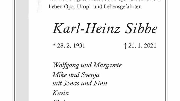 Karl-Heinz Sibbe † 21. 1. 2021