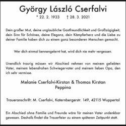 György László Cserfalvi † 28. 3. 2021
