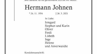 Hermann Johnen †26. 3. 2021