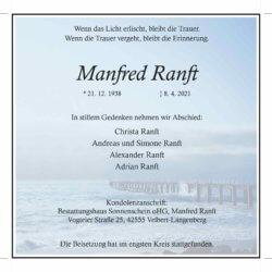 Manfred Ranft † 8. 4. 2021