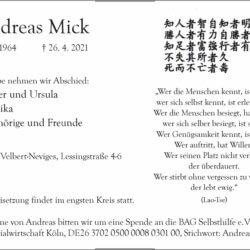 Andreas Mick † 26. 4. 2021