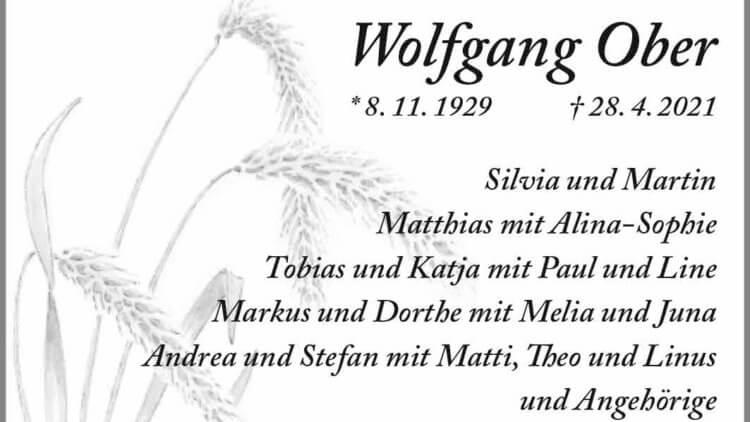 Wolfgang Ober † 28. 4. 2021
