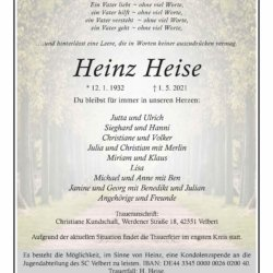 Heinz Heise † 1. 5. 2021