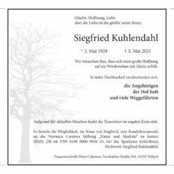 Siegfried Kuhlendahl † 3. 5. 2021