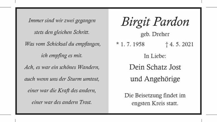 Birgit Pardon † 4. 5. 2021