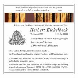 Herbert Eickelbeck † 30. 4. 2021