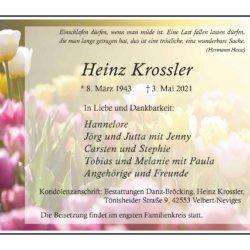 Heinz Krossler † 3. 5. 2021