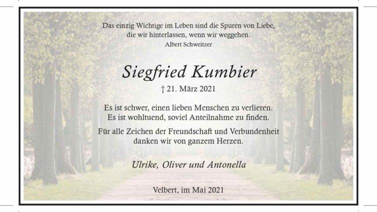 Siegfried Kumbier -Danksagung-