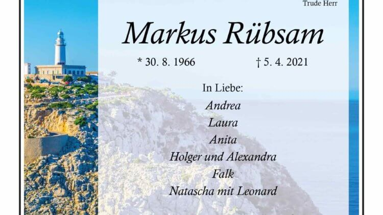 Markus Rübsam † 5. 4. 2021