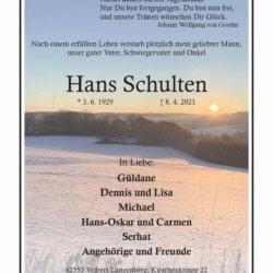 Hans Schulten † 8. 4. 2021