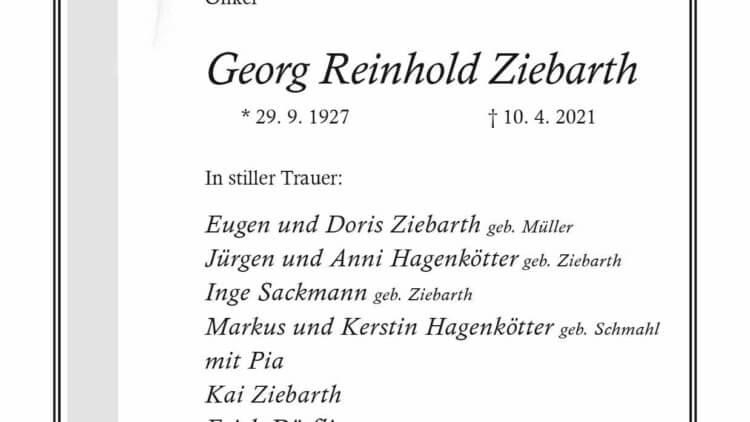 Georg Reinhold Ziebarth † 10. 4. 2021