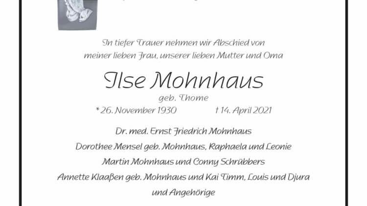 Ilse Mohnhaus † 14. 4. 2021