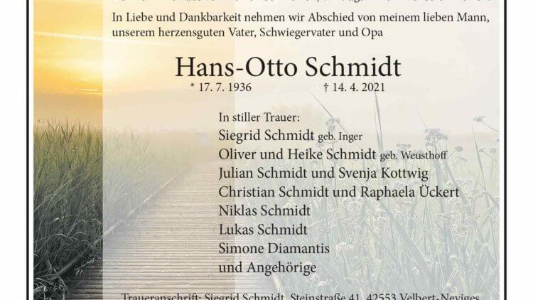 Hans-Otto Schmidt † 14. 4. 2021