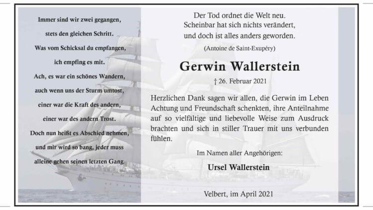 Gerwin Wallerstein -Danksagung-
