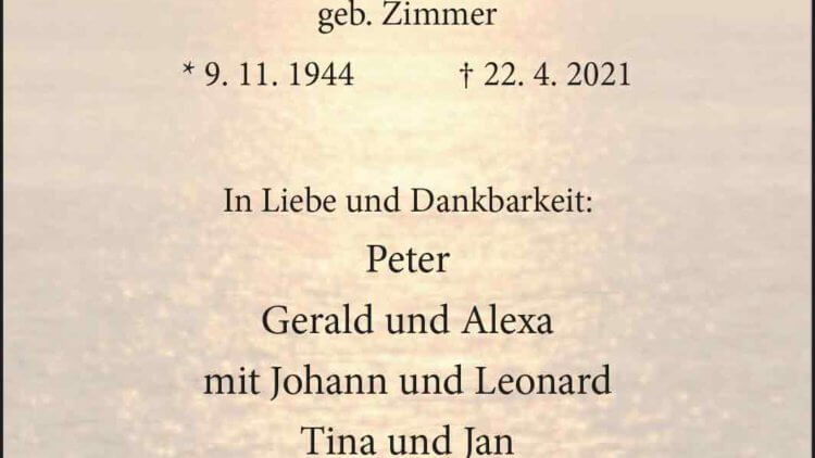 Siegrun Graf † 22. 4. 2021