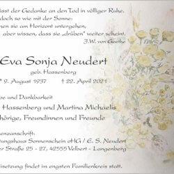 Eva Sonja Neudert † 22. 4. 2021