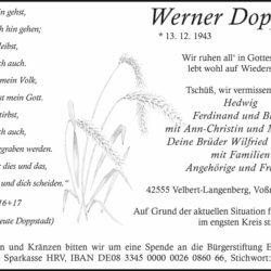 Werner Doppstadt † 20. 4. 2021