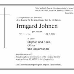 Irmgard Johnen † 29. 5. 2021