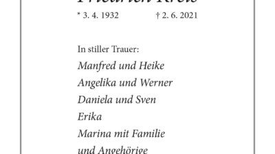Friedrich Kreis † 2. 6. 2021