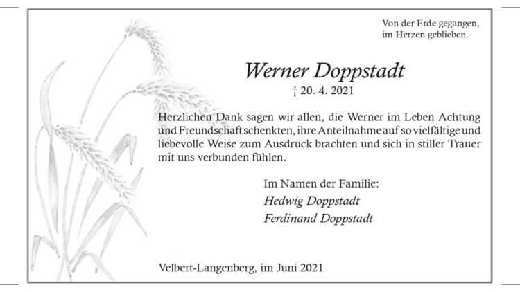 Werner Doppstadt -Danksagung-