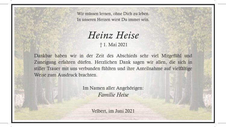 Heinz Heise -Danksagung-