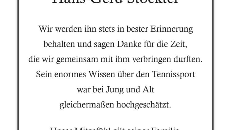 Hans-Gerd Stockter -Tennisfreunde-